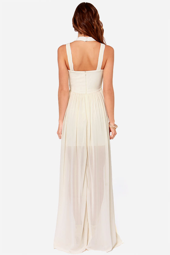 Maximum Flattery Cream Maxi Dress at Lulus.com!