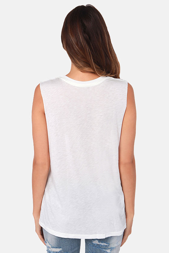 Obey Possessed Ivory Print Muscle Tee at Lulus.com!