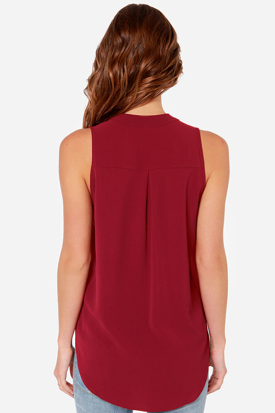 Daily Special Sleeveless Wine Red Top at Lulus.com!