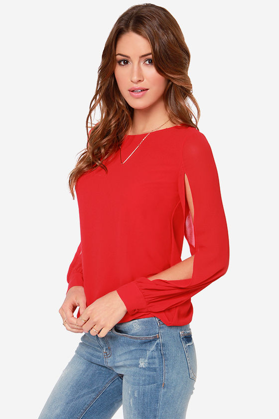 LULUS Exclusive Lucky Ch-Arms Red Long Sleeve Top at Lulus.com!