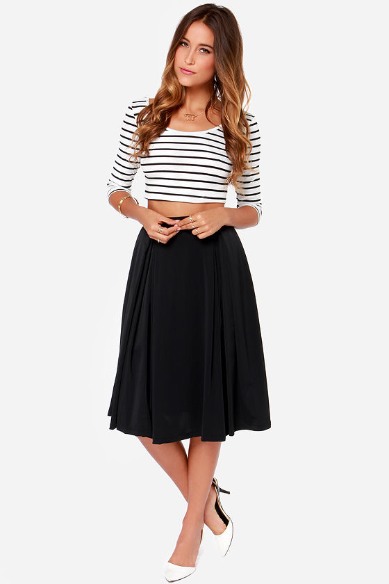Cute Black Skirt - Midi Skirt - Full Skirt - $40.00
