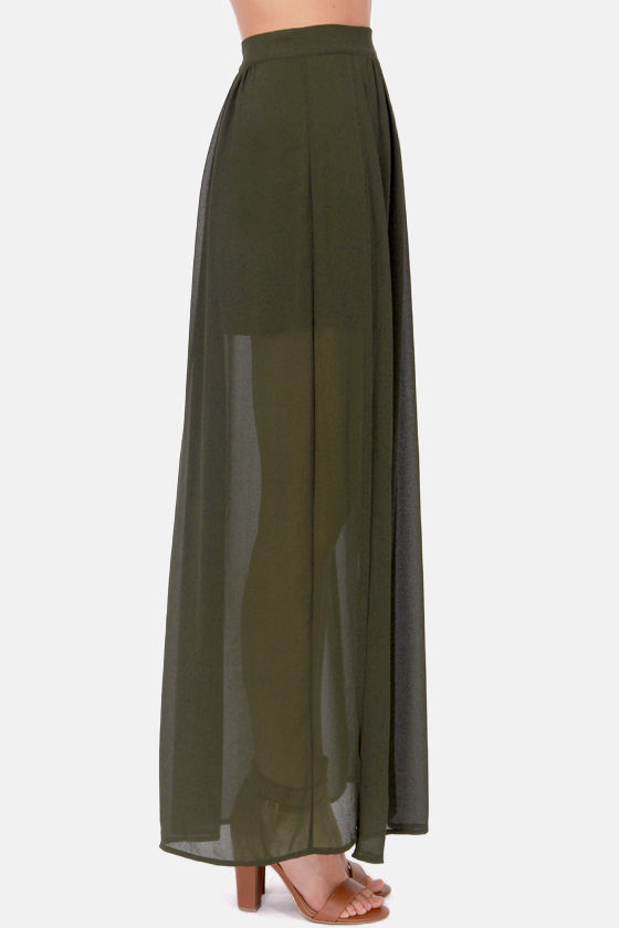 Going the Distance Olive Green Maxi Skirt at Lulus.com!
