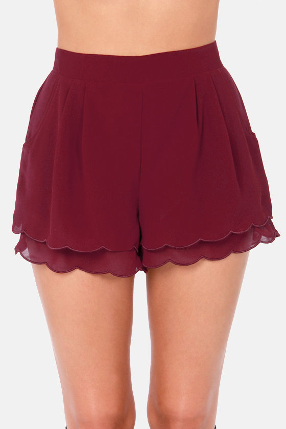 Scallop Poll Scalloped Burgundy Shorts at Lulus.com!