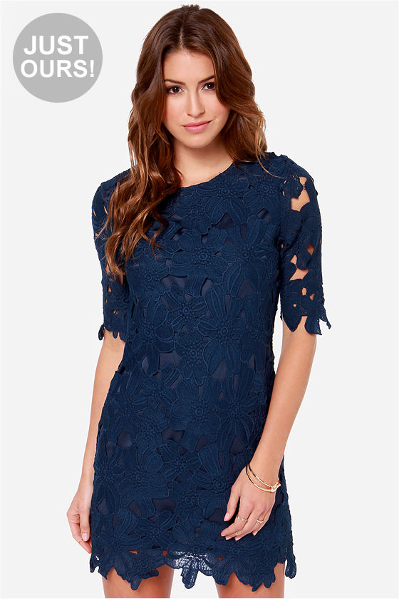 Navy Blue Dress Dress - Lace Dress - Sheath Dress - $58.00