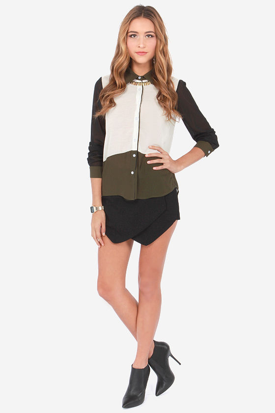 Power Trip Olive Green Color Block Top at Lulus.com!