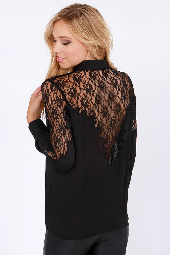 Lace Into Life Black Button-up Top at Lulus.com!