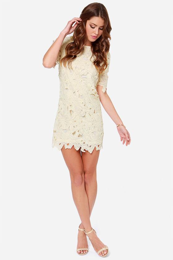 ac956e5cf2241f Pretty Cream Dress - Lace Dress - Sheath Dress -  58.00