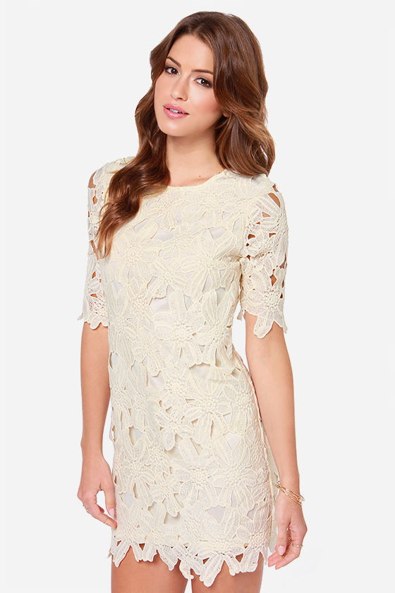 Pretty Cream Dress - Lace Dress - Sheath Dress - $58.00