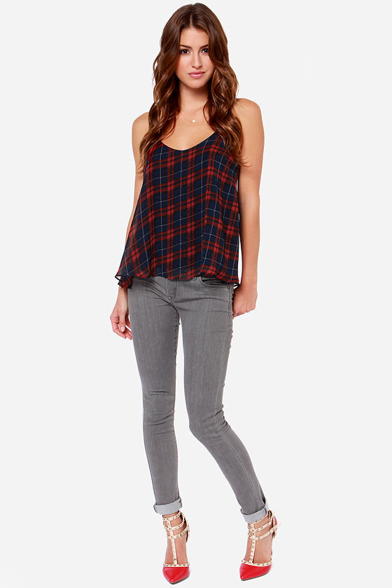 LULUS Exclusive Launch Plaid Navy Blue Plaid Tank Top at Lulus.com!