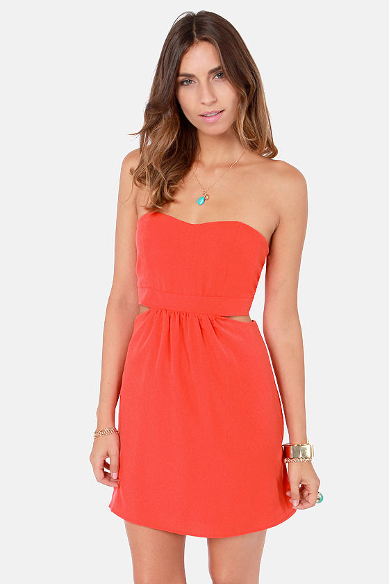 Notch to Mention Strapless Cutout Coral Red Dress at Lulus.com!