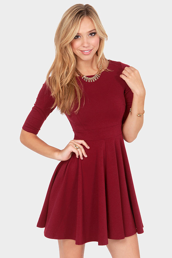 Black Swan Olivia Wine Red Skater Dress at Lulus.com!