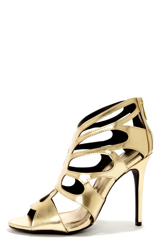 b9a6900b7 Sexy Gold Shoes - Gold Heels - Peep Toe Heels - Gold Booties -  36.00