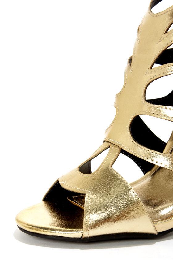 Anne Michelle Rapture 22 Gold Cutout Peep Toe Heels at Lulus.com!