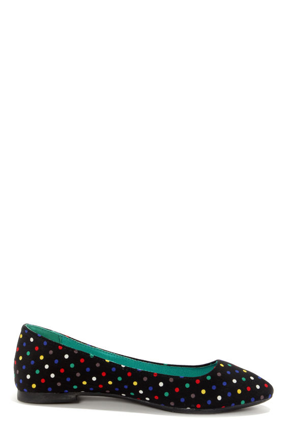 Bamboo Waranda 04 Black Polka Dot Pointed Ballet Flats at Lulus.com!