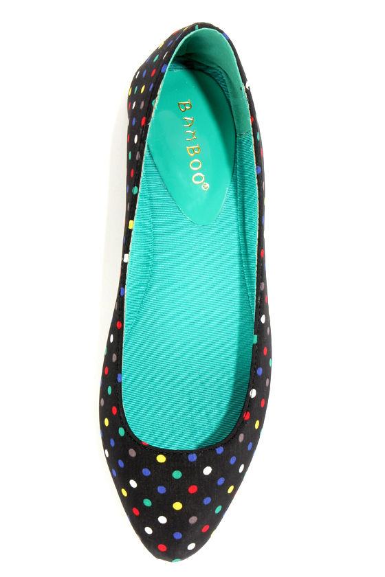 Bamboo Waranda 04 Black Polka Dot Pointed Ballet Flats at Lulus.com!