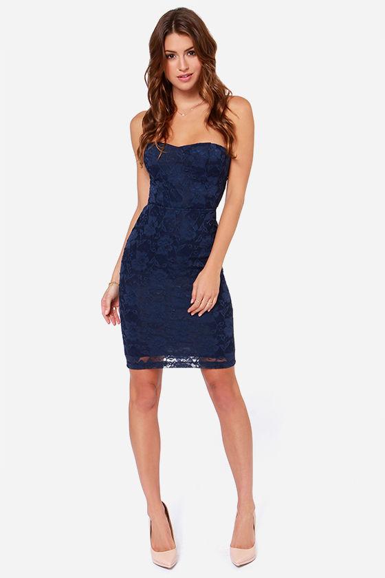 8bdd0404c4e5 LULUS Exclusive Dangerous Games Strapless Navy Blue Lace Dress