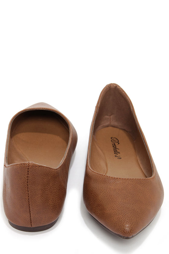 best selling outlet for sale limited guantity Cute Tan Flats - Pointed Flats - Office Shoes - $17.00