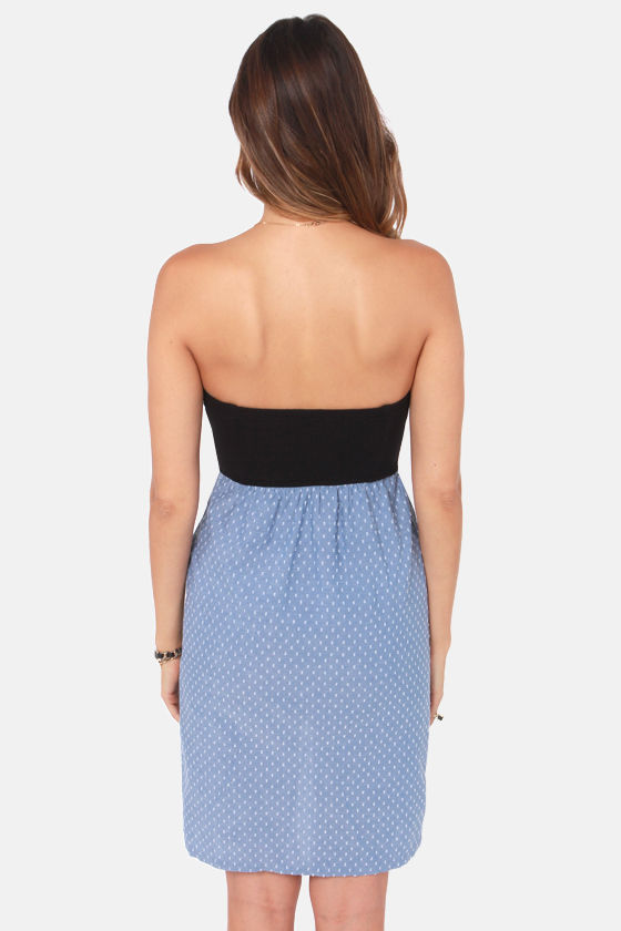 Hurley Abagail Strapless Black and Blue Dress at Lulus.com!