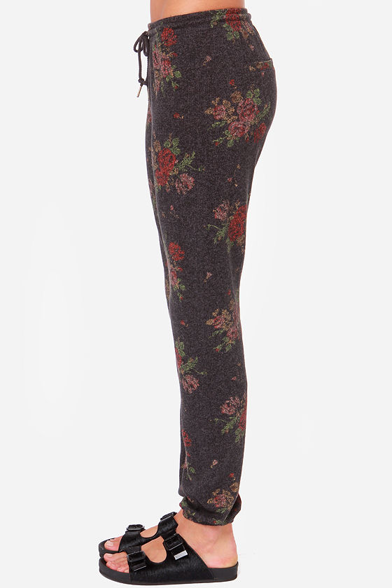 Obey Lola Grey Floral Print Sweatpants at Lulus.com!