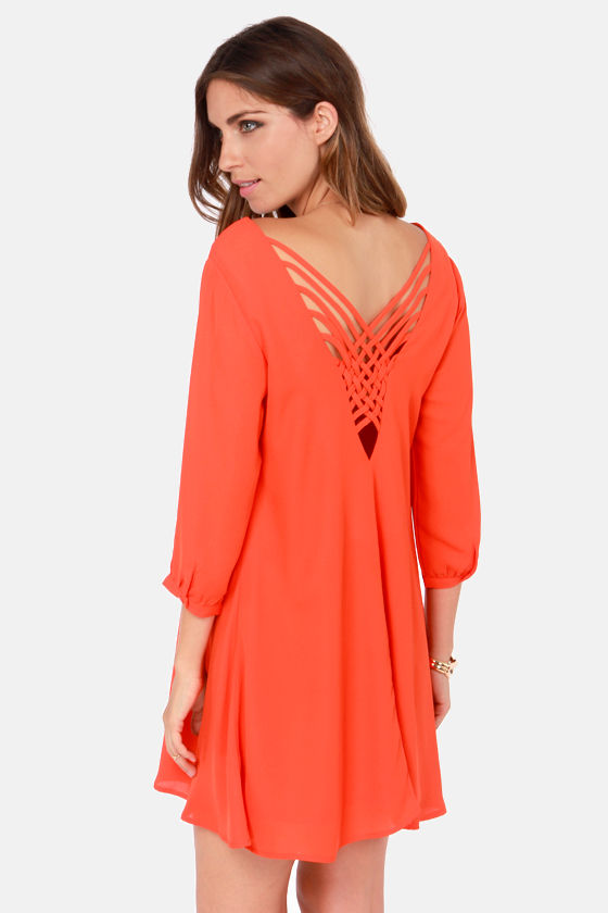 Cute Orange Dress Shift Dress 4500
