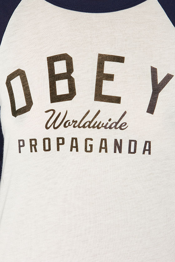 Obey Worldwide Prop. Navy Blue Long Sleeve Top at Lulus.com!