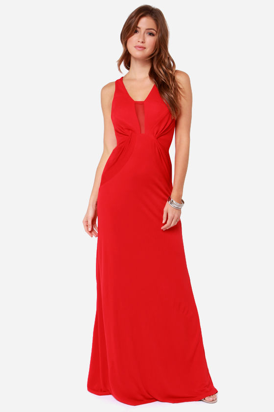 Bariano Sophia Red Mesh Maxi Dress at Lulus.com!