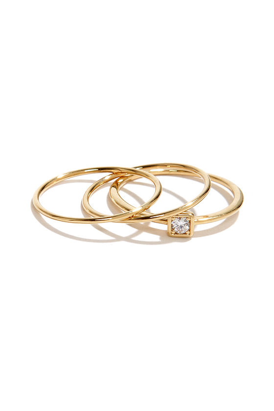 Fine and Fancy Three Gold Ring Set at Lulus.com!