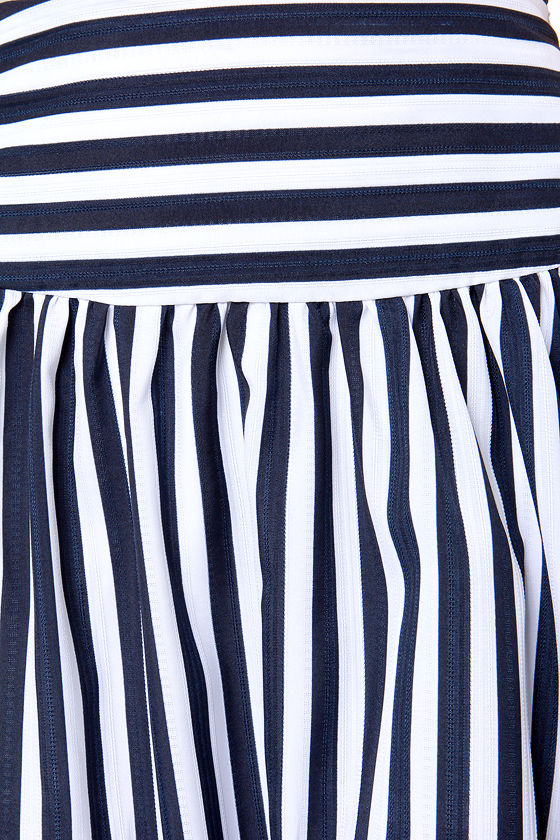 JOA Here Midi, Midi Navy Blue and Ivory Striped Skirt at Lulus.com!