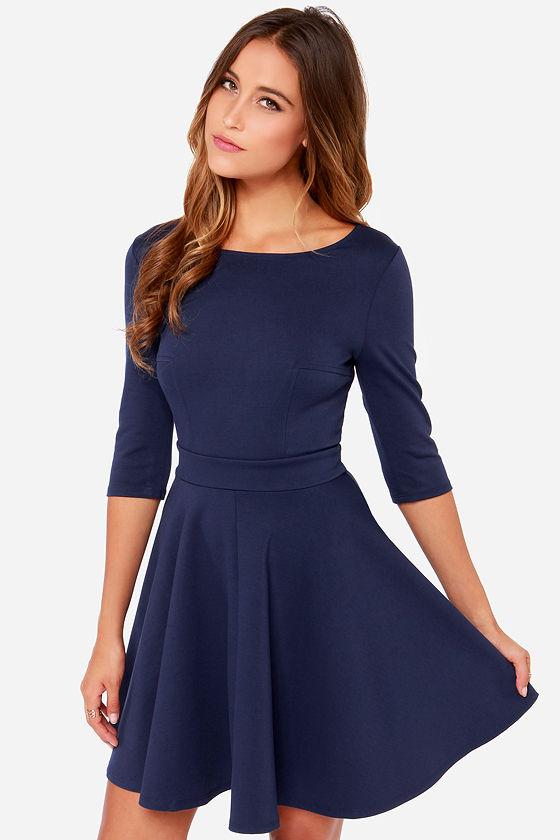 Navy Blue Dress Skater Dress Cute Dress 49 00