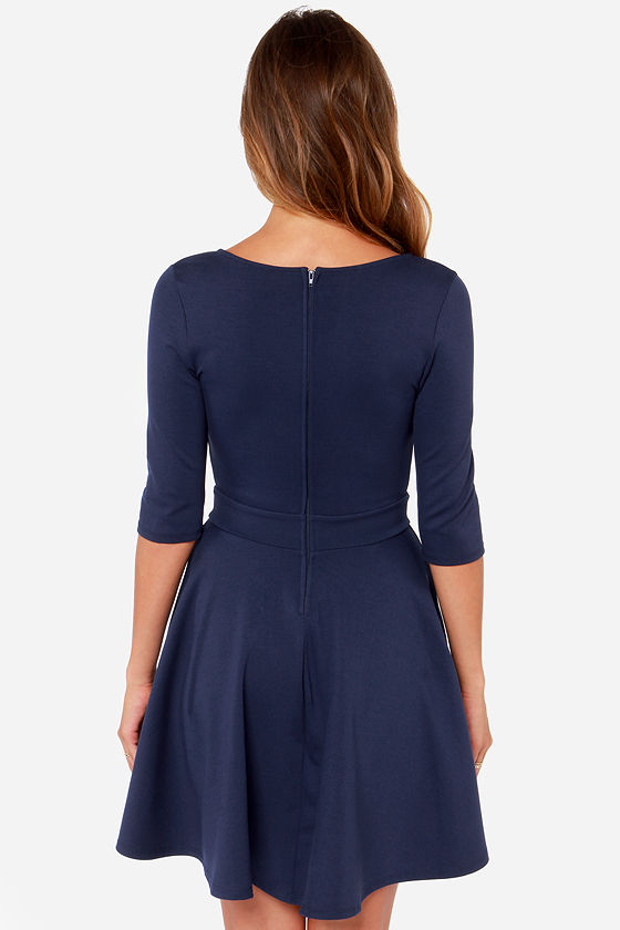 Just a Twirl Navy Blue Dress at Lulus.com!