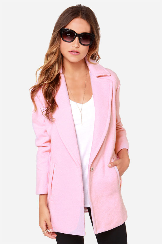 JOA Pink Coat - Oversized Coat - Wool Coat - $113.00