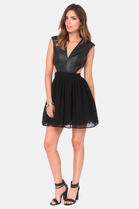 Hot and Heavy Black Vegan Leather Dress at Lulus.com!