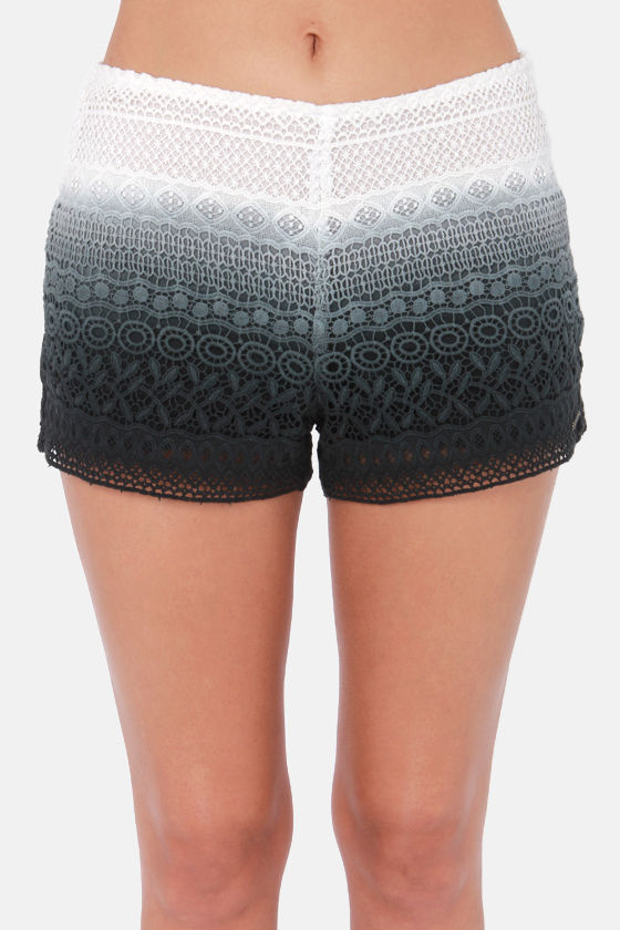 Volcom Lost Days Black Ombre Lace Shorts at Lulus.com!