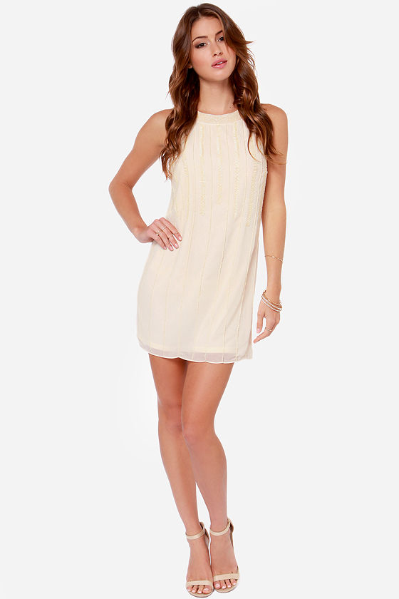 Beading Heart Beaded Cream Dress at Lulus.com!