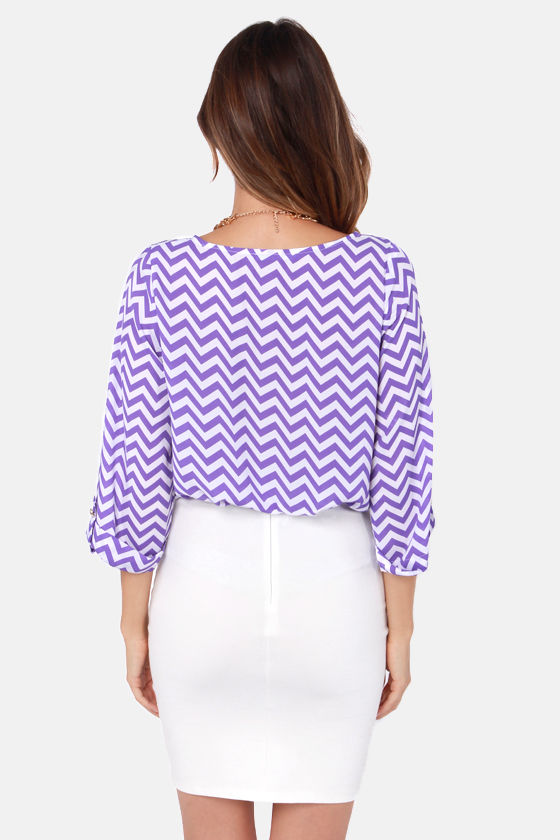 On the Cuff Purple Chevron Print Top at Lulus.com!