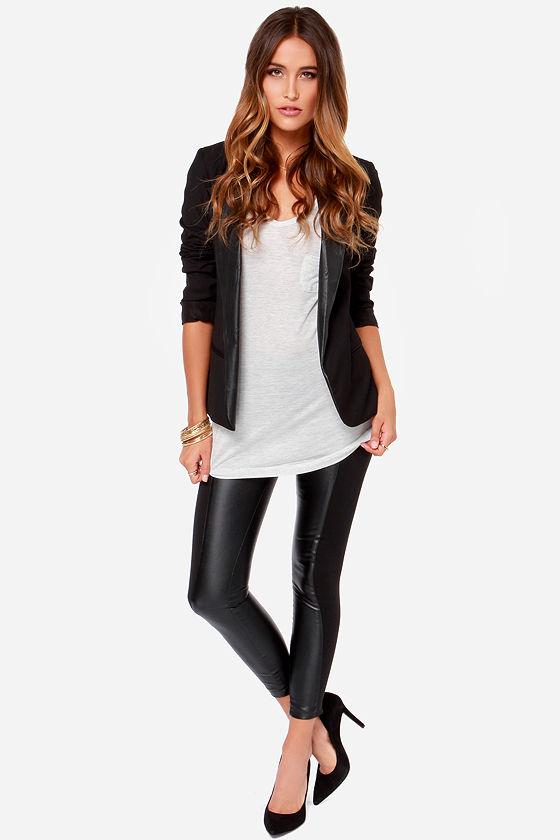 Black Pants - Cropped Pants - Vegan Leather Pants - $63.00