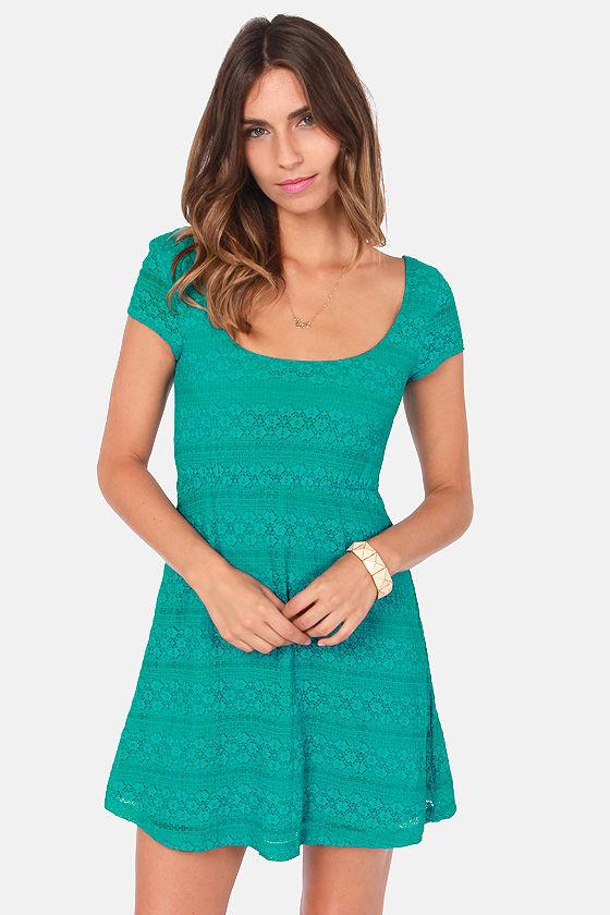 Volcom Remind Me Dress - Teal Dress - Lace Dress - $49.50
