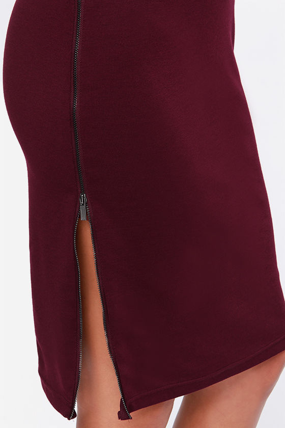 Zippery When Wet Burgundy Midi Dress at Lulus.com!