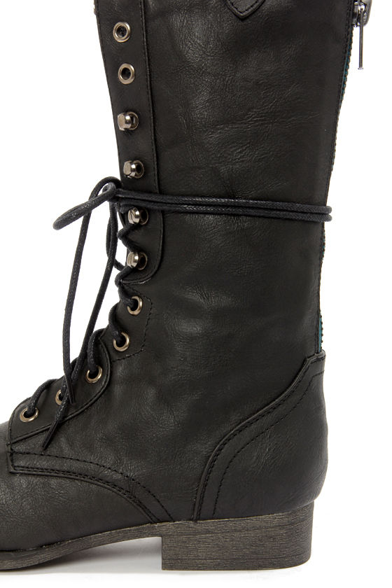 Madden Girl Gizmoo Black Lace-Up Combat Boots at Lulus.com!