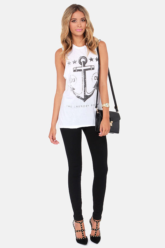 Laundry Room Anchor Club Distressed White Muscle Tee at Lulus.com!