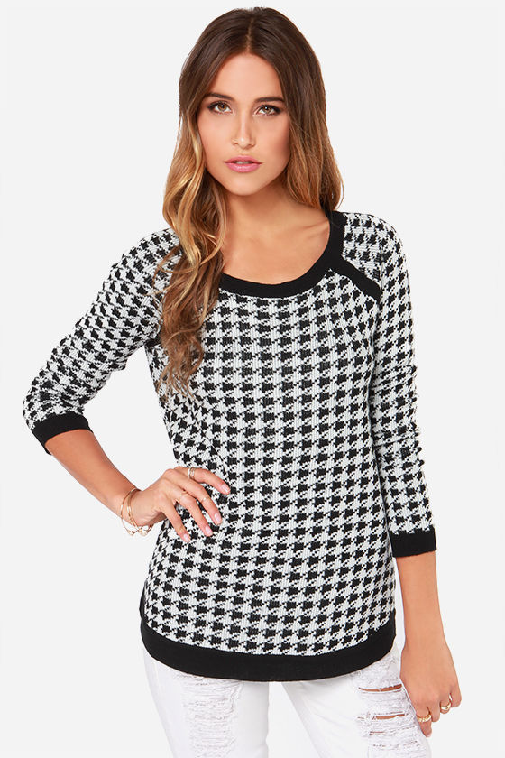 Cute Black and White Sweater - Houndstooth Sweater - $71.00
