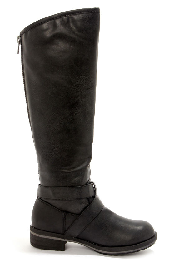 black boots knee high boots motorcycle boots 79 00