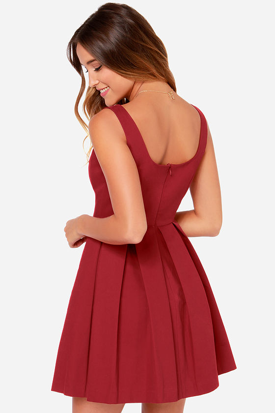 BB Dakota Dane Wine Red Skater Dress at Lulus.com!