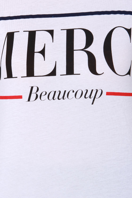 Lovers + Friends Merci Beaucoup White Tee at Lulus.com!