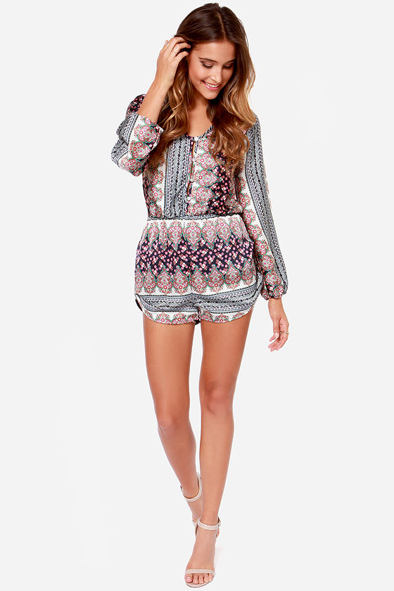 Personal Space-ly Navy Blue Paisley Print Romper at Lulus.com!