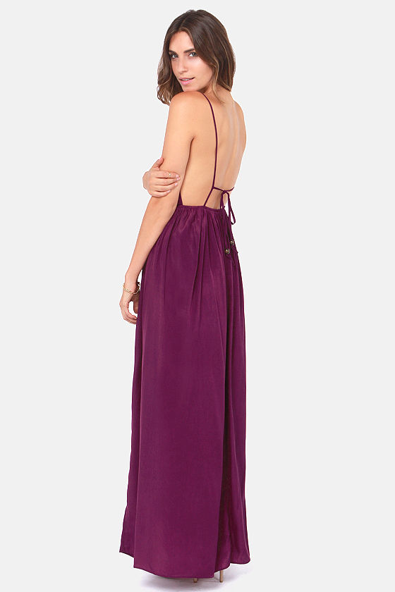 Titania's Woods Backless Purple Maxi Dress at Lulus.com!