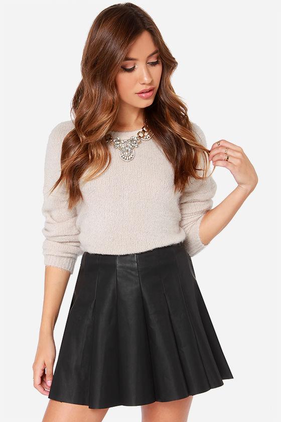 BB Dakota Nynette Skirt - Black Mini Skirt - Vegan Leather Skirt ...