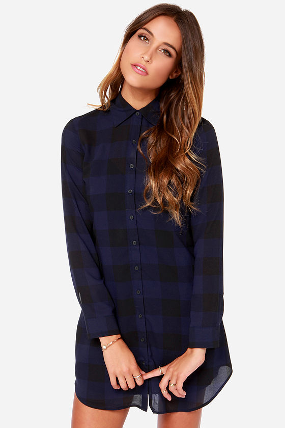 Bb dakota keenan shirt dress shirt dress plaid dress for Blue dress shirt outfit