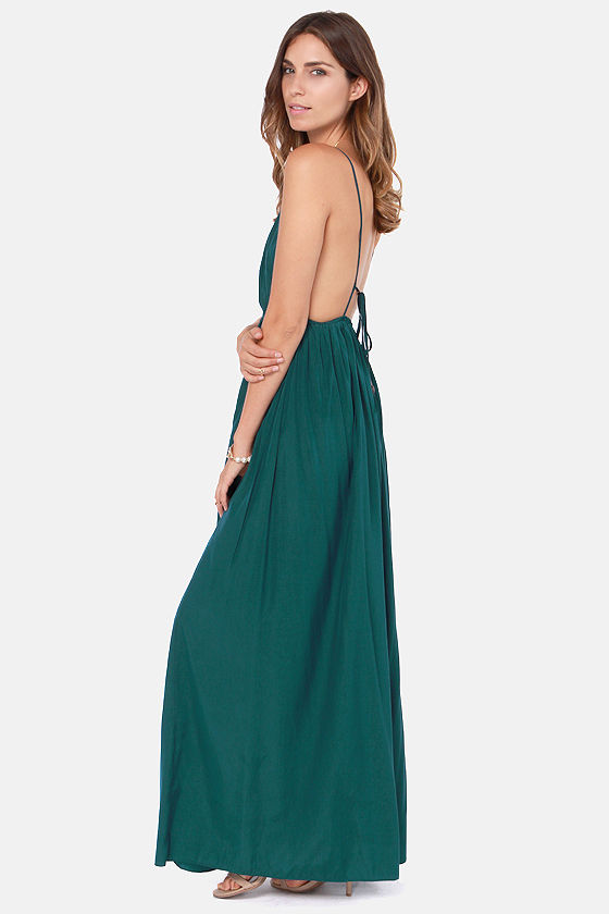 Titania's Woods Backless Dark Teal Maxi Dress at Lulus.com!
