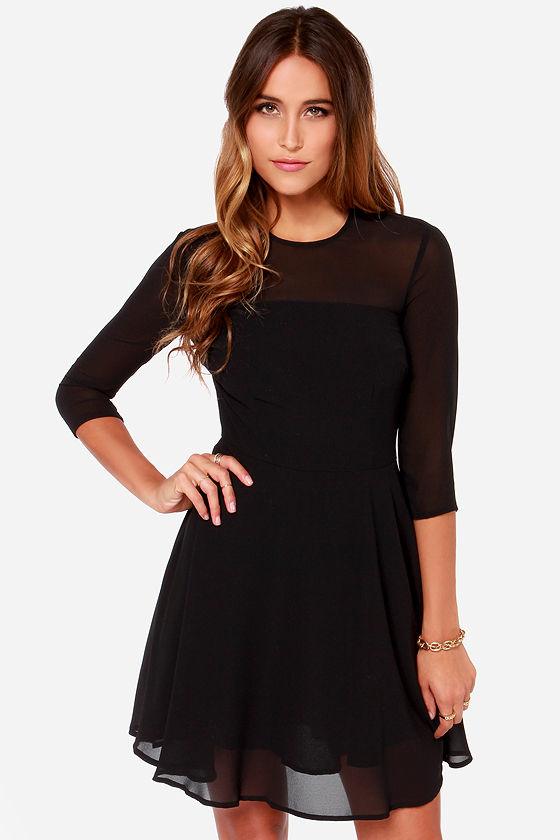 BB Dakota Shaelei Dress - LBD - Black Dress - Sheer Dress - $83.00